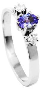 Zlatý prsten se safírem a diamanty 014976