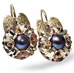 Zlaté náušnice s perlou N213