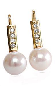 Zlaté náušnice s perlou a diamanty N290