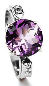 Zlatý prsten s ametystem a diamanty PD521