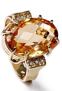Zlatý prsten s citrínem a diamanty PD466