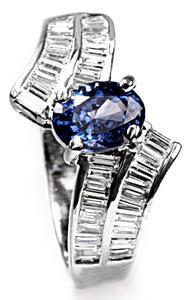 Zlatý prsten se safírem a diamanty PD433