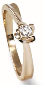 Zlatý prsten s diamantem PD338