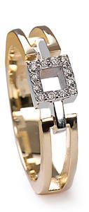 Zlatý prsten s diamanty PD278
