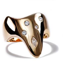 Zlatý prsten s diamanty PD408