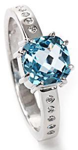 Zlatý prsten s topazem a diamanty PD523