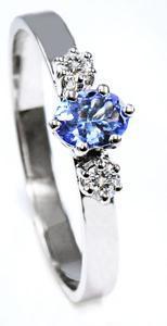 Zlatý prsten s tanzanitem a diamanty PD527