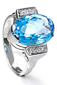 Zlatý prsten s topazem a diamanty PD455