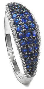 Zlatý prsten se safíry a diamanty PD2012