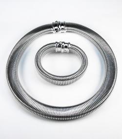 Stříbrná souprava Obojek náhrdelník a náramek 22072021