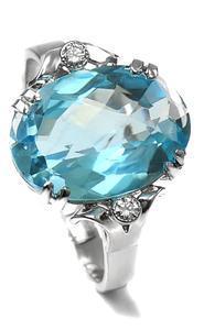 Zlatý prsten s diamanty a topazem PD2018