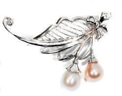 Zlatá perlová brož B01