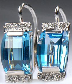 Zlaté náušnice s topazy a diamanty N57