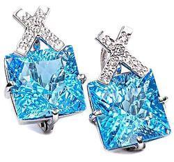 Zlaté náušnice s topazy a diamanty N131