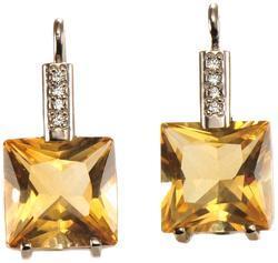 Zlaté náušnice s citríny a diamanty N3014