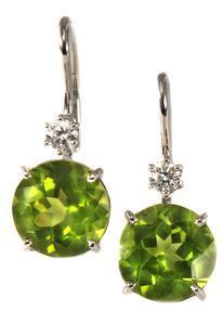 Zlaté náušnice s olivíny a diamanty N3011