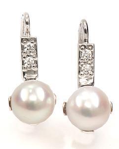 Zlaté náušnice s perlami a diamanty N3026