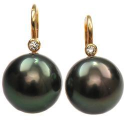 Zlaté náušnice s perlami a diamanty N3025