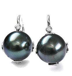 Zlaté náušnice s perlou a diamanty N158
