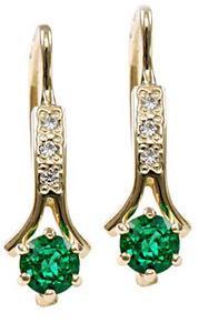 Zlaté náušnice se smaragdy a diamanty N295