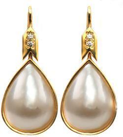Zlaté náušnice s perlami a zirkony N3027