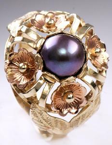 Zlatý prsten s černou perlou P309