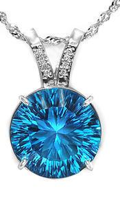 Zlatý přívěšek s topazem a diamanty P7002