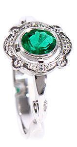 Zlatý prsten se smaragdem a diamanty PD123