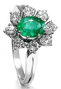 Zlatý prsten se smaragdem a diamanty PD122