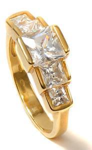 Zlatý prsten se zirkony P1007