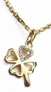 Zlatý přívěšek čtyřlístek pro štěstí 067239