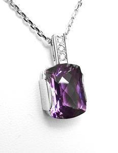 Zlatý přívěšek s ametystem a diamanty 027239