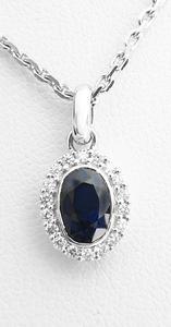 Zlatý přívěšek se safírem a diamanty 7018