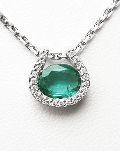 Zlatý přívěšek se smaragdem a diamanty 7060
