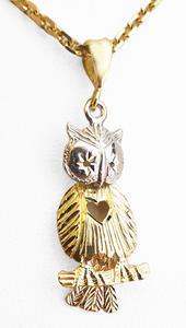 Zlatý přívěšek sovička 068215