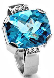 Zlatý prsten s topazem a diamanty PS544