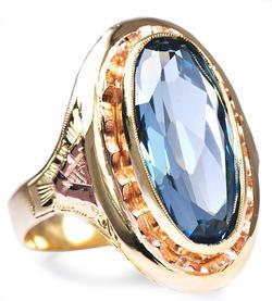 Zlatý prsten s akvamarínem P1023