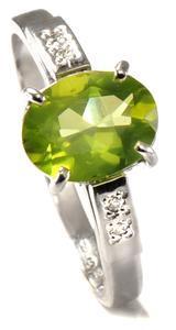 Prsten s olivínem a zirkony P1022