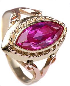 Zlatý prsten s rubínem P796