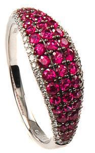 Zlatý prsten s rubíny a diamanty PD2013