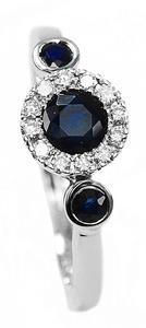 Zlatý prsten se safíry a diamanty 30168