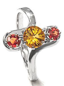 Zlatý prsten se safíry P1015