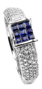 Zlatý prsten se safíry a diamanty PD2011