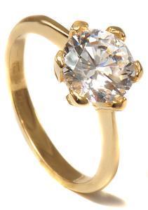 Zlatý prsten se zirkonem P1018