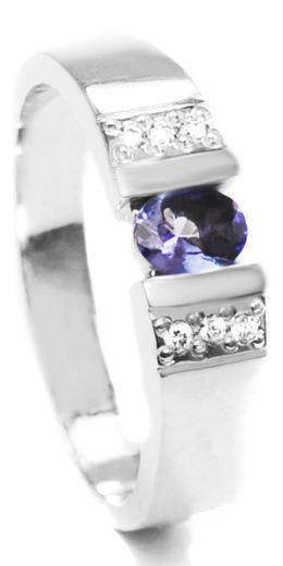Zlatý prsten se safírem a diamanty 015008  - 1