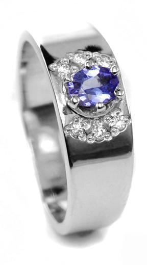 Zlatý prsten se safírem a diamanty 015097  - 1