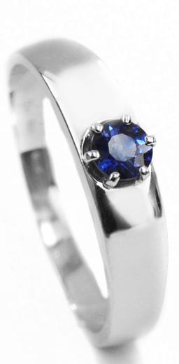 Zlatý prsten se safírem 015201  - 1