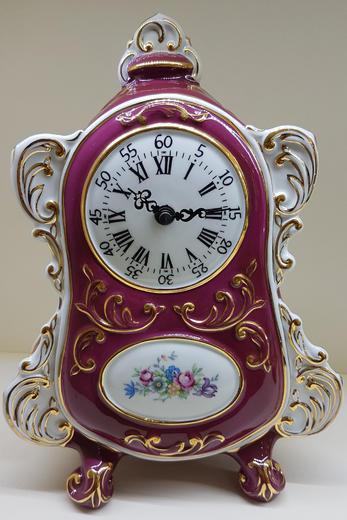 stolní hodiny české baroko porcelán červené CZ  - 1