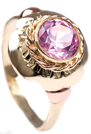Zlatý prsten s rubínem P800  - 1
