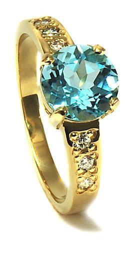 Zlatý prsten s diamanty a topazem PD2001  - 1